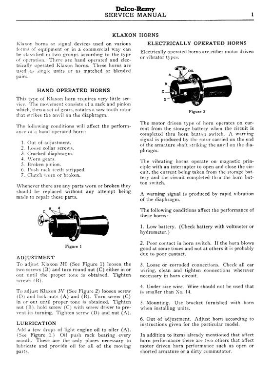 Harley Davidson Service Manuals Klaxon Horn 1933